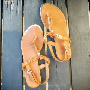 Dolce Vita Brown Sandals with Gold Accents